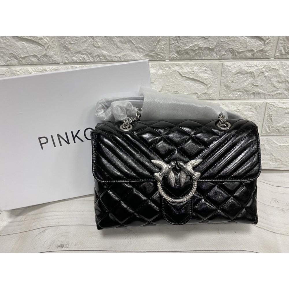 Модная женская сумка в стиле Pinko в черном цвете арт 1613