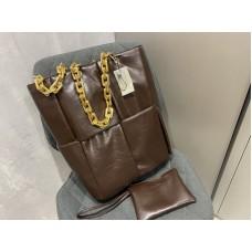 Стильная женская сумка в стиле Bottega Veneta в цвете шоколад арт1273
