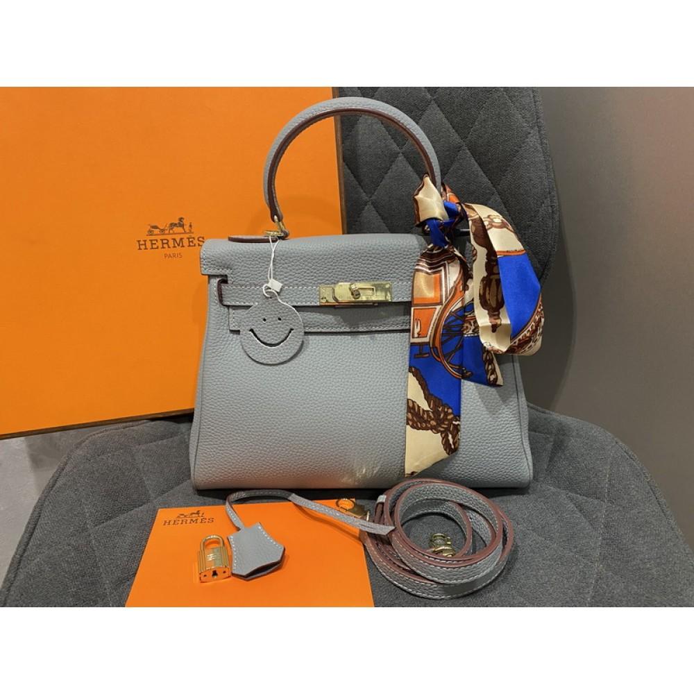 Модная женская кожаная сумка в стиле Hermes Kelly. Натуральная кожа Togo 32см арт1484