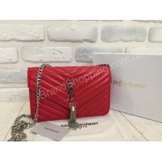Женская кожаная сумочка YSL красная  0372