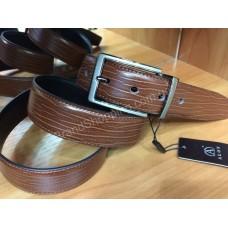 Двусторонний кожаный ремень 1013 коричневый/черный  ширина 3,5 см