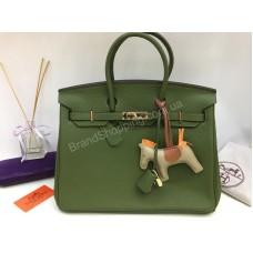 Брендовая сумочка Hermes Birkin 35см и 30 см в люкс качестве цвет зеленый 17841