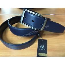 Двусторонний кожаный ремень 1080 синий/черный ширина 3,5см