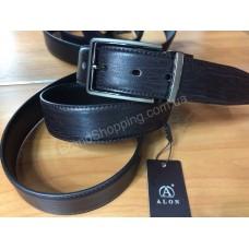 Двусторонний кожаный ремень Alon коричневый/черный ширина 3,5см