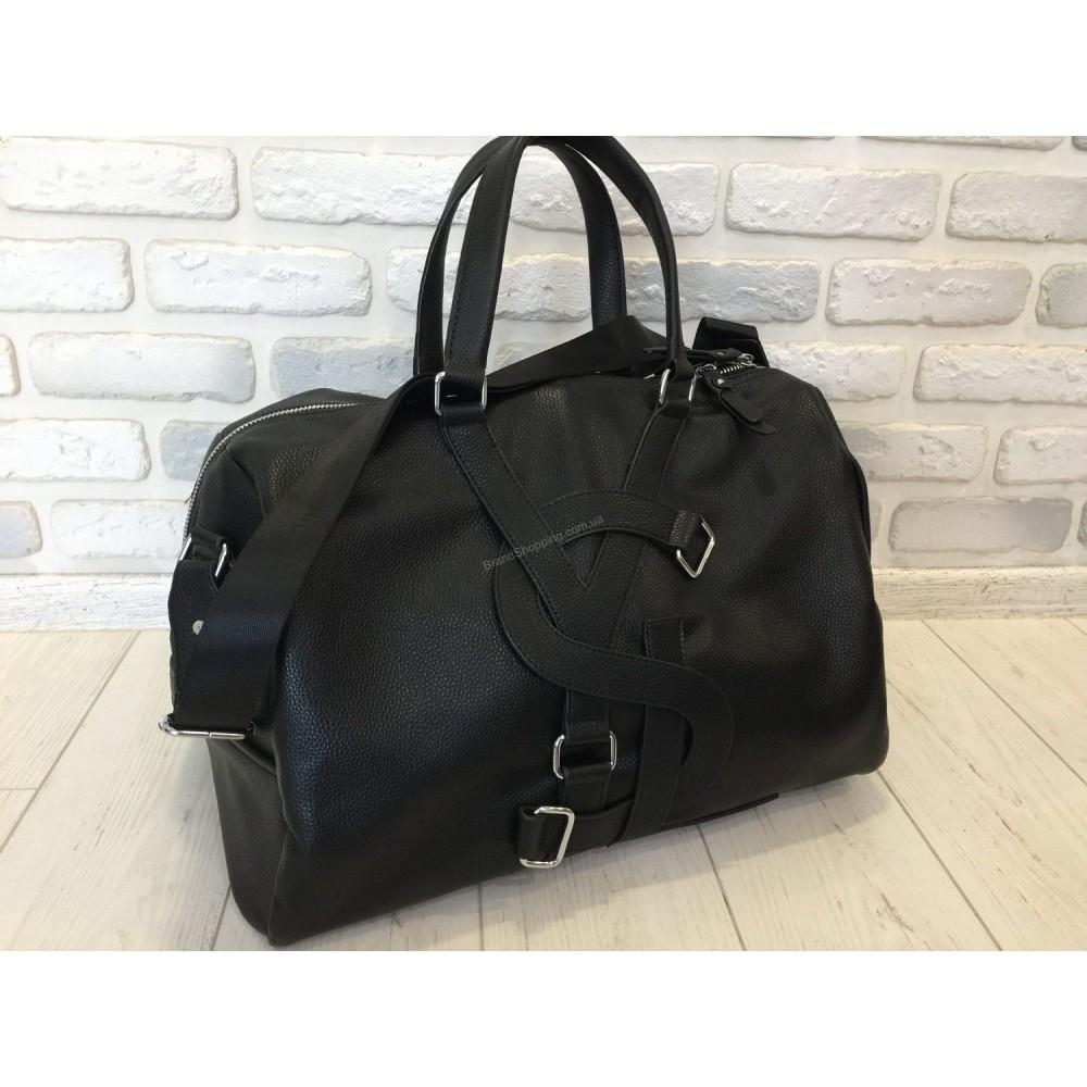 Кожаная дорожная сумка YSL черная 0409
