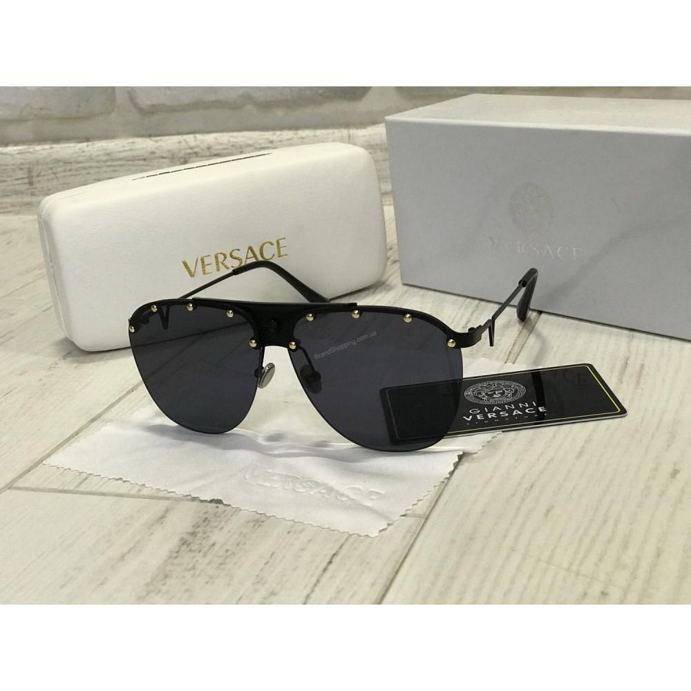 NEW 2018!!Очки солнцезащитные Versace цвет черный в полном комплекте 1758