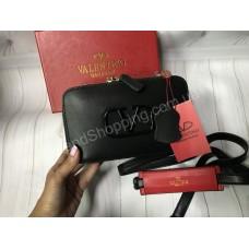 Сумочка Valentino реплика натуральная кожа в черном цвете арт 20513