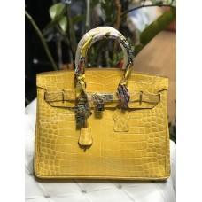 Hermes Birkin Ермес 35см крокодил в желтом цвете арт 21512