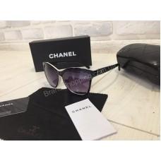 NEW 2018!! Шикарные солнцезащитные очки Chanel комбинированные черные с белым 1730