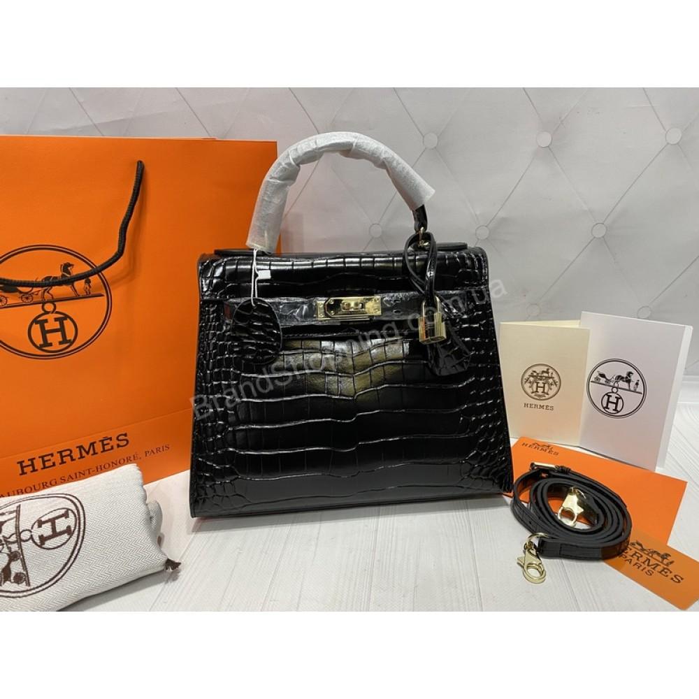 Стильная сумка Hermes Kelly крокодил в  черном цвете арт 20198H