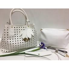 Женская кожаная сумка Doir 3в1 белая 1157