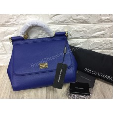 Женская сумочка Dolce&Gabbana из натуральной кожи saffiano цвет синий арт 20303