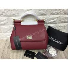 Женская сумочка Dolce&Gabbana из натуральной кожи saffiano цвет марсала арт 20304