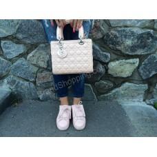 Женская модная сумочка Lady Dior лаковая пудра 368