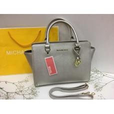 Женская кожаная сумка Michael Kors  Silver 0166s