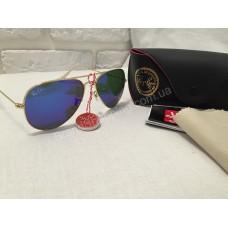 Солнцезащитные очки Ray Ban Aviator синие с оправа Gold 01494