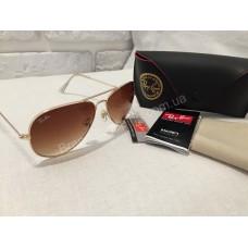 Солнцезащитные очки Ray Ban Aviator коричневые оправа Gold 01491