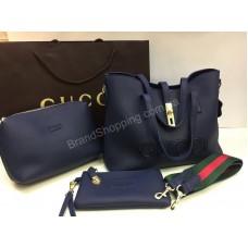 Женская сумочка Gucci в люкс качестве 3в1 цвет синий арт 2096