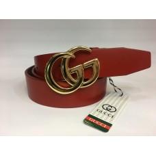 Кожаный ремень Gucci красный ширина 4 см 1339