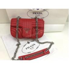 Сумочка кожаная  Prada Lux из натуральной кожи в полном комплекте красная 1764