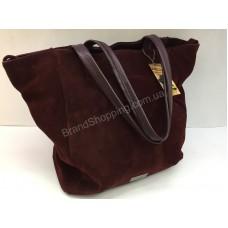 Шикарная женская сумка из натурального замша цвет марсала 1735