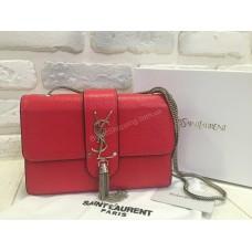 Женская кожаная сумочка YSL red 0464