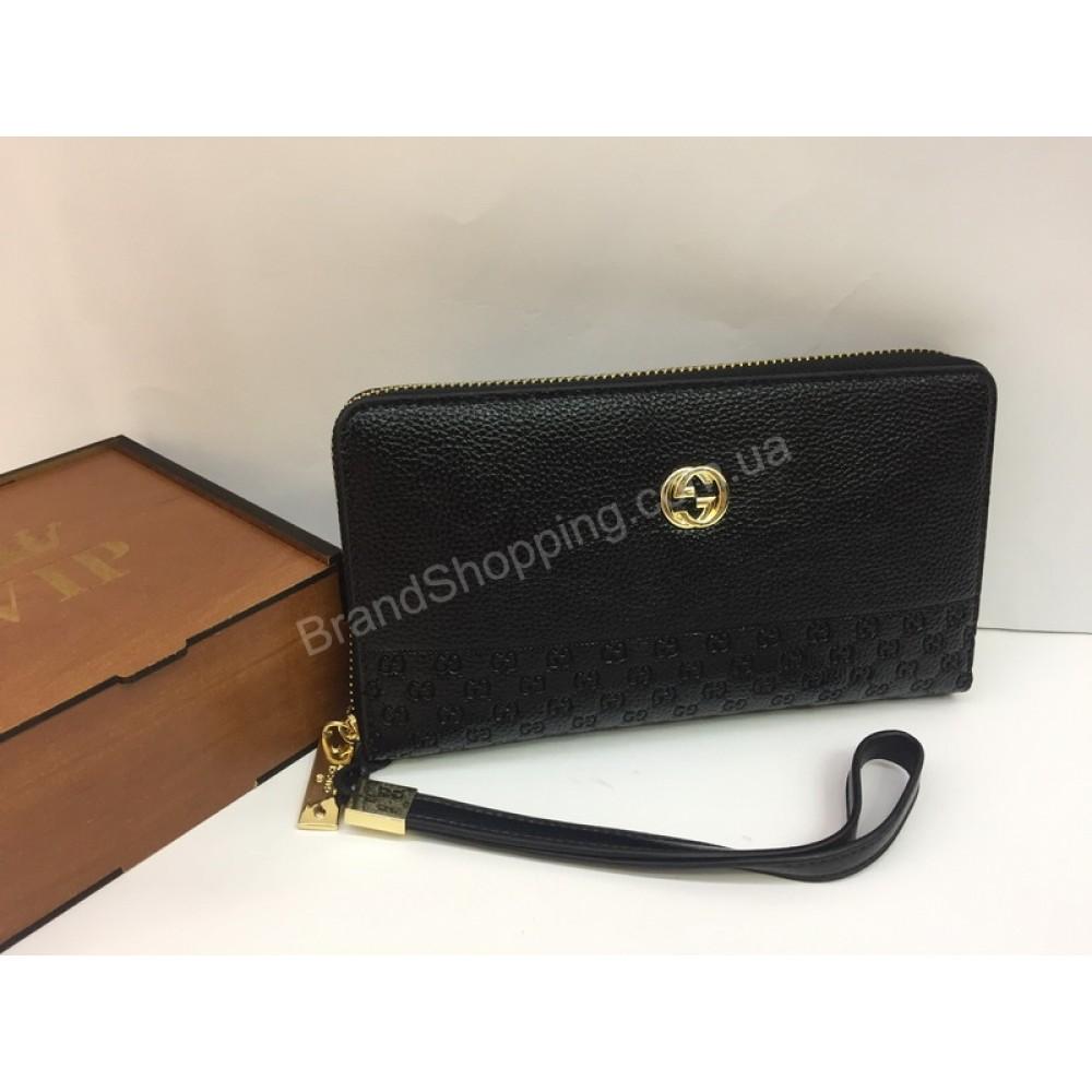 Шикарный кошелек-клатч Gucci в черном цвете арт 20134