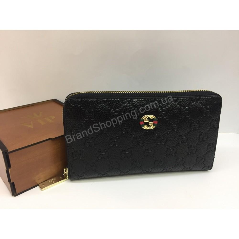 Шикарный кошелек Gucci унисекс в черном цвете арт 20135