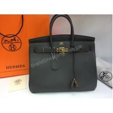 Женская сумка Hermes Birkin Lux 35 см в телячьей кожи в сером цвете арт 20137