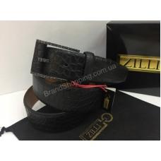 Ремень из натуральной кожи Zilli в черном цвете в полном комплекте Lux качество арт 20146