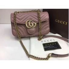 NEW 2018 Женская сумочка Gucci из натуральной кожи в полном комплекте цвет пудра  арт 2085
