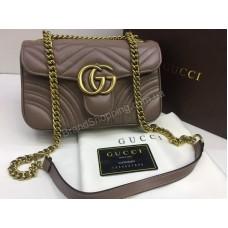 NEW 2018 Хит сезона ультра модная сумка Gucci материл натуральная телячья кожа в коробке цвет темный беж арт 2087
