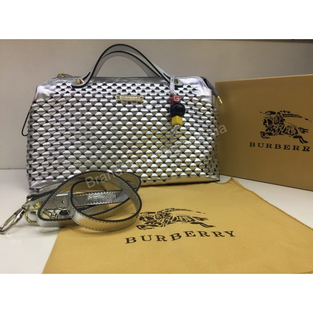 NEW 2018 Женская сумочка Burberry из натуральной кожи в Lux качестве цвет серебро арт 2089