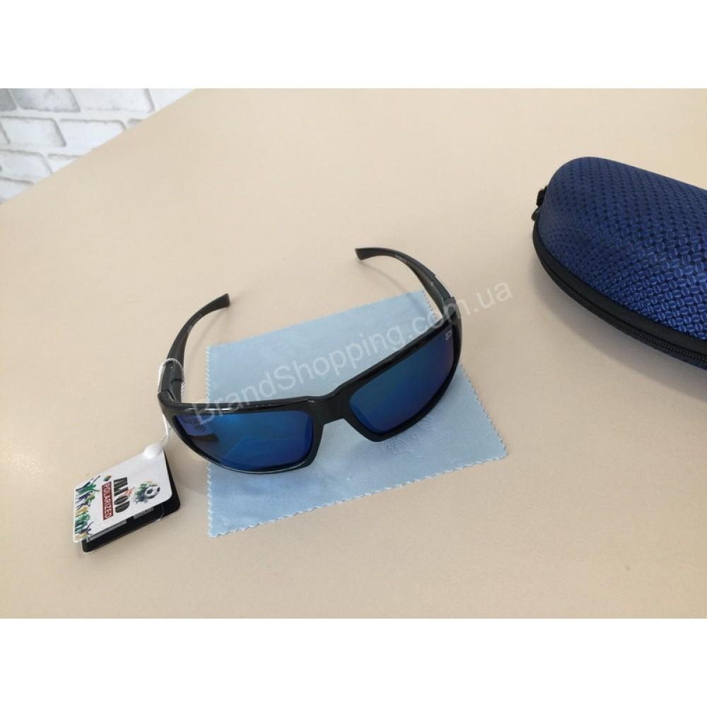 NEW 2018!!Солнцезащитные  очки с поляризацией мужские в спортивном стиле цвет синий 1802