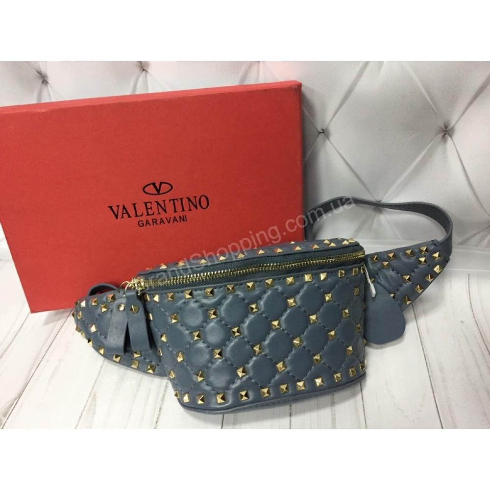 Бананка Valentino Lux из натуральной кожи в голубом цвете в коробке  арт 20378