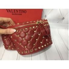 Бананка Valentino Lux из натуральной кожи в красном цвете в коробке  арт 20380