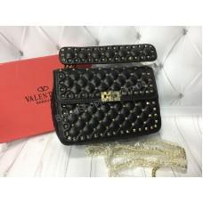 Сумочка из натуральной кожи Valentino в черном цвете (реплика) арт 20385