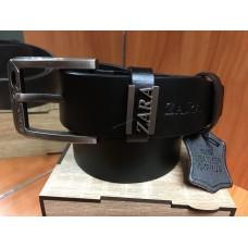 Кожаный ремень Zara черный ширина 4 см 0642