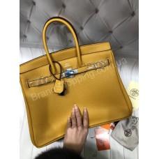 Женская сумка Hermes Birkin 35 см в желтом цвете арт 20415