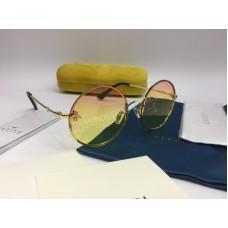 NEW 2018 Женские очки Gucci солнцезащитные круглые с переходом от розового в желтый 2034