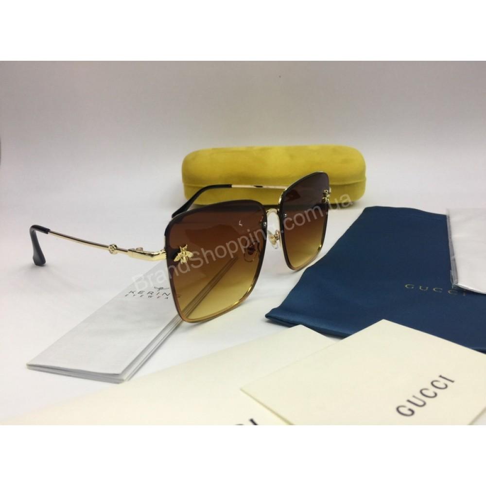 NEW 2018 Женские очки Gucci в коричневом цвете дужка металл арт 2035