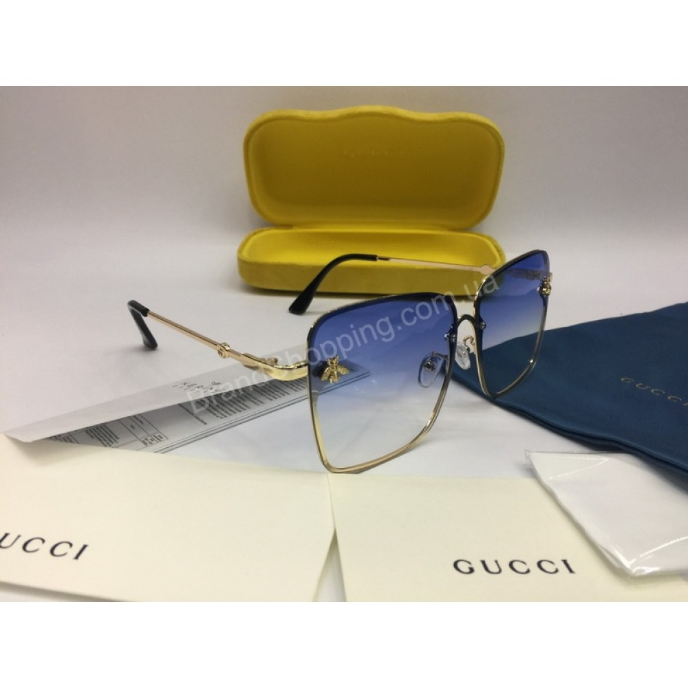 NEW 2018 Очки солнцезащитные  Gucci в нежно голубом цвете арт 2044