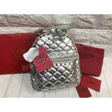 Рюкзак сумка Valentino Lux натуральная кожа серебро арт 20587