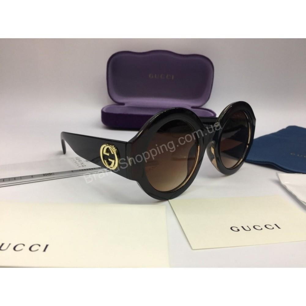 NEW 2018 Очки солнцезащитные Gucci круглые коричневые  арт 2049