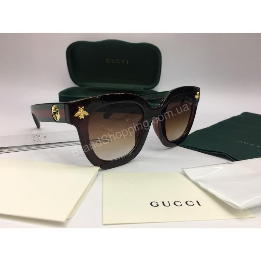 NEW 2018 Очки солнцезащитные Gucci в коричневом цвете в полном комплекте  арт 2050