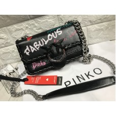 Стильная сумочка Pinko Lux в черном цвете  реплика в полном комплекте арт 20589