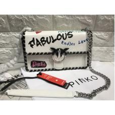Стильная сумочка Pinko в белом цвете реплика в полном комплекте арт 20590