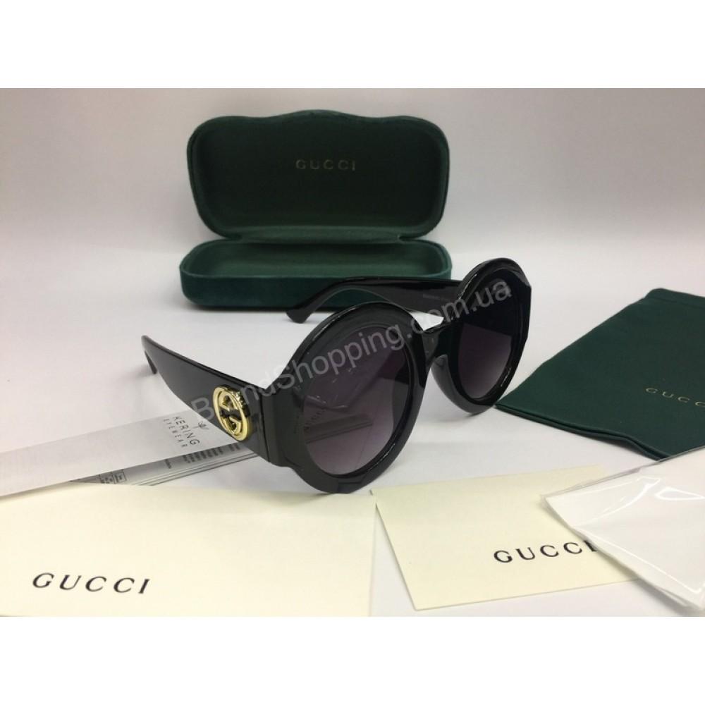 NEW 2018  Очки солнцезащитные Gucci круглые черные 2051