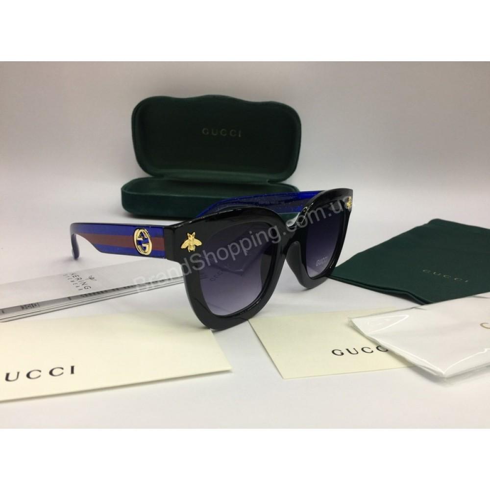 NEW 2018 Очки солнцезащитные Gucci с синими дужками в полном комплекте арт 2052