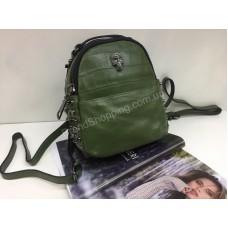 Брендовый кожаный рюкзак Philipp Plein в зеленом цвете 1797